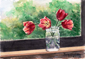 Red Tulips on Window Sill