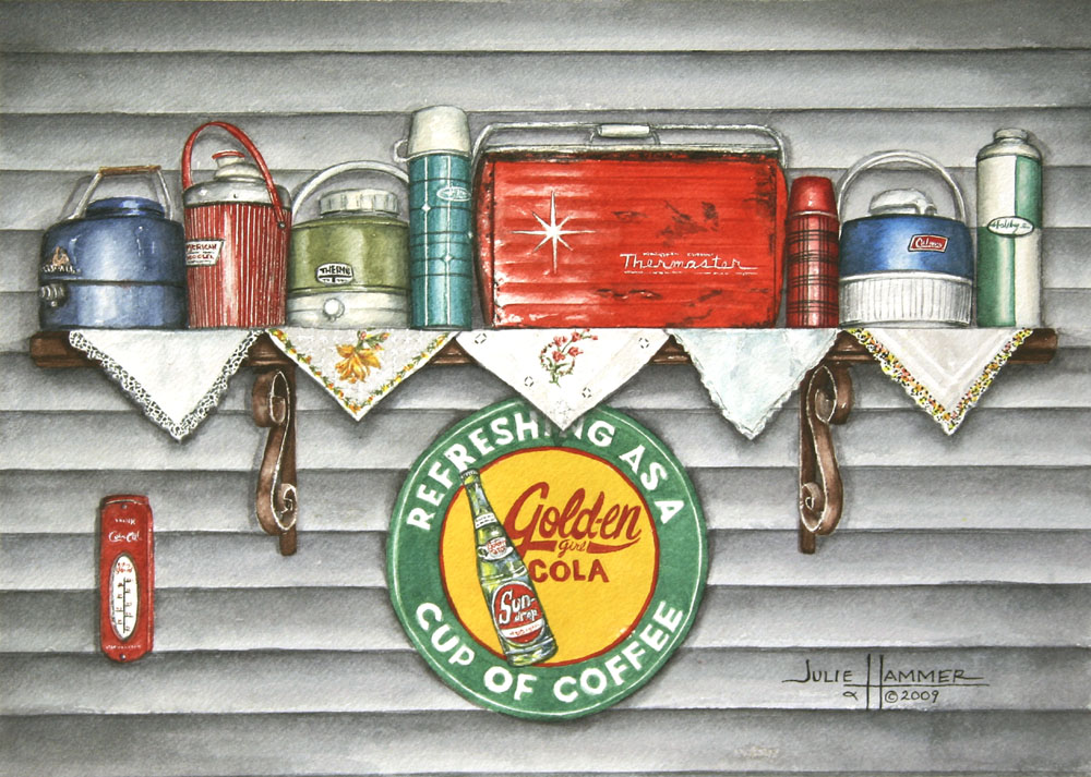 Retro Coolers watercolor painting by Julie Hammer, artist