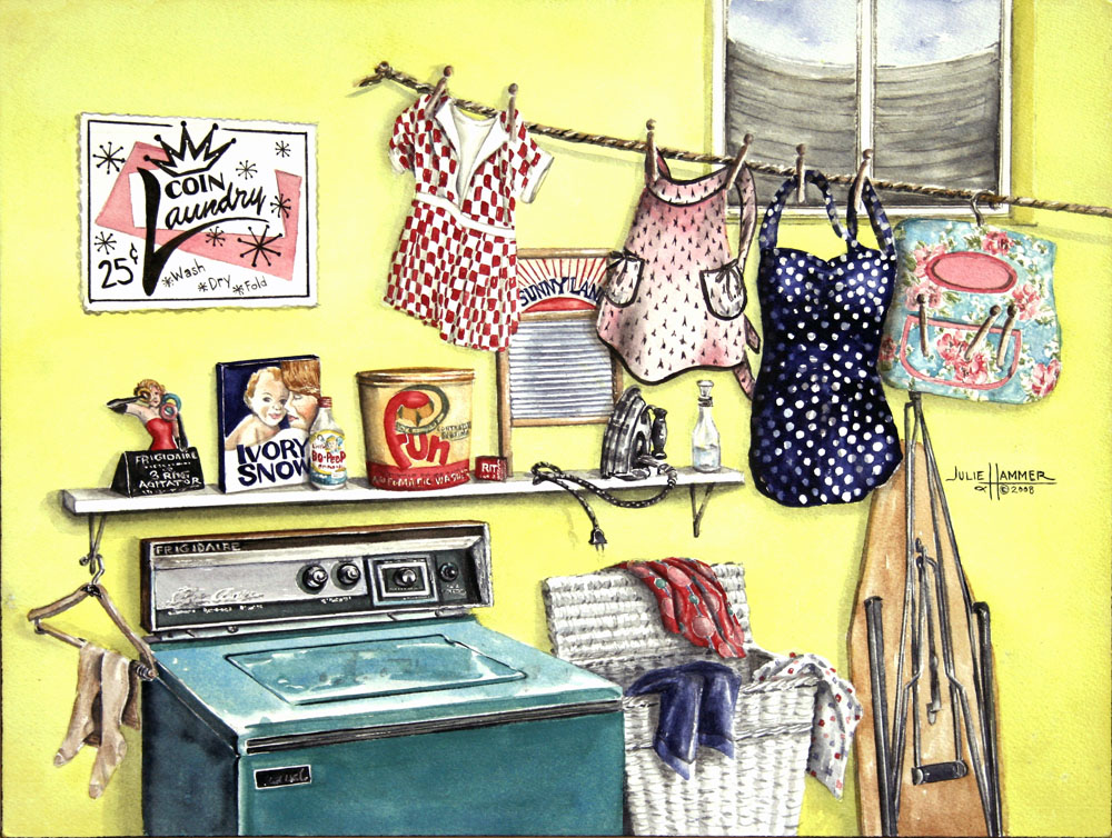 Retro Laundry Room watercolor painting by Julie Hammer, artist