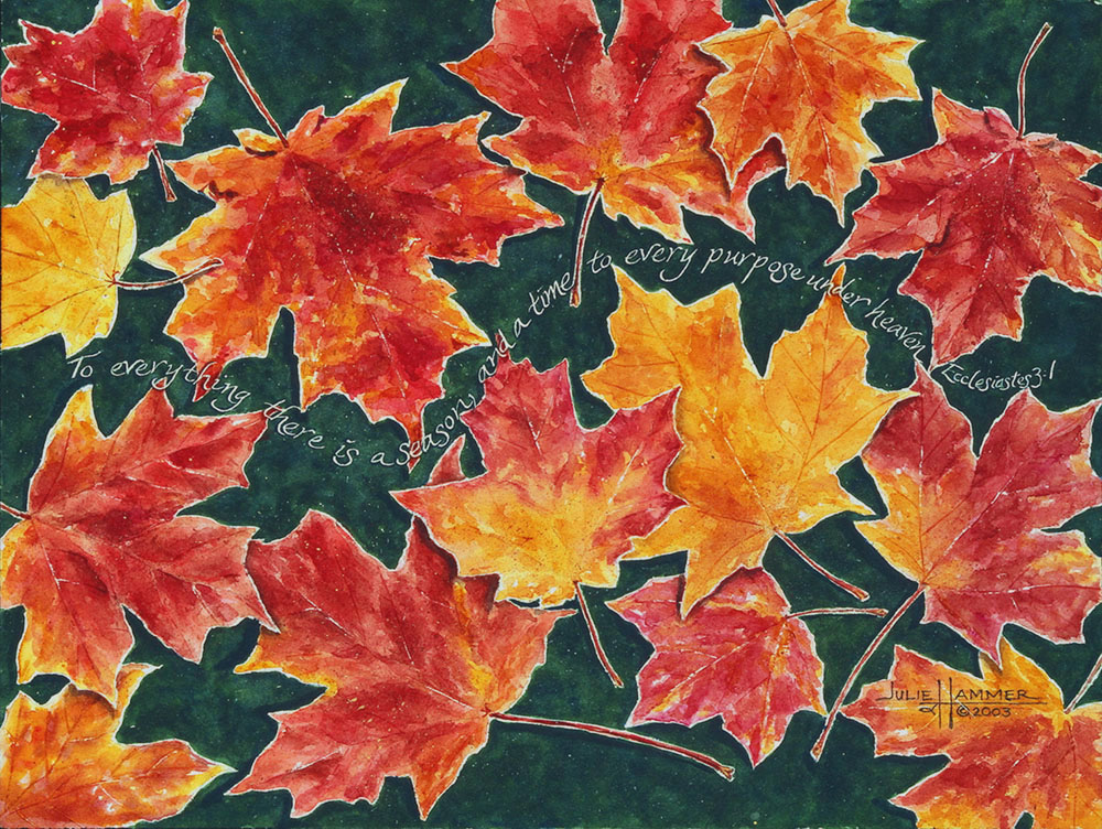 Autumn Leaves watercolor painting by Julie Hammer, artist