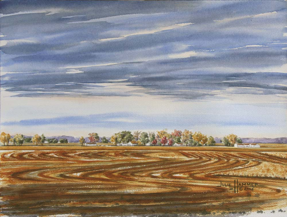 Autumn Wheat Field watercolor painting by Julie Hammer, artist