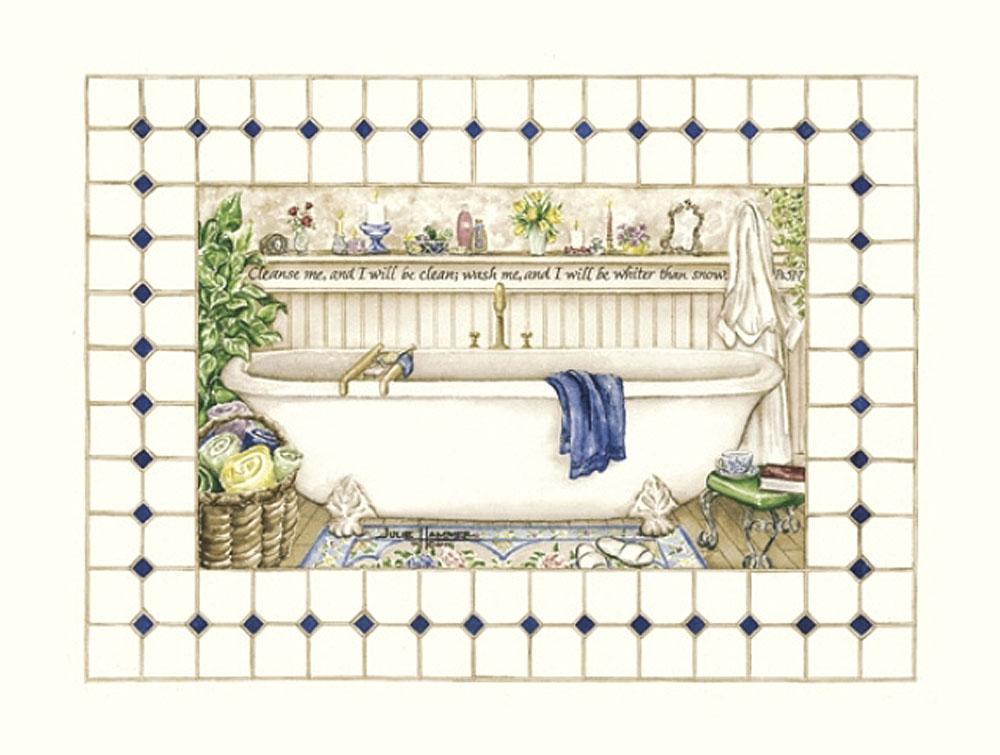 Bathtub watercolor painting by Julie Hammer, artist