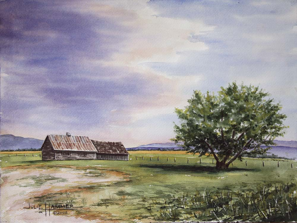 Cabin & Tree watercolor painting by Julie Hammer, artist