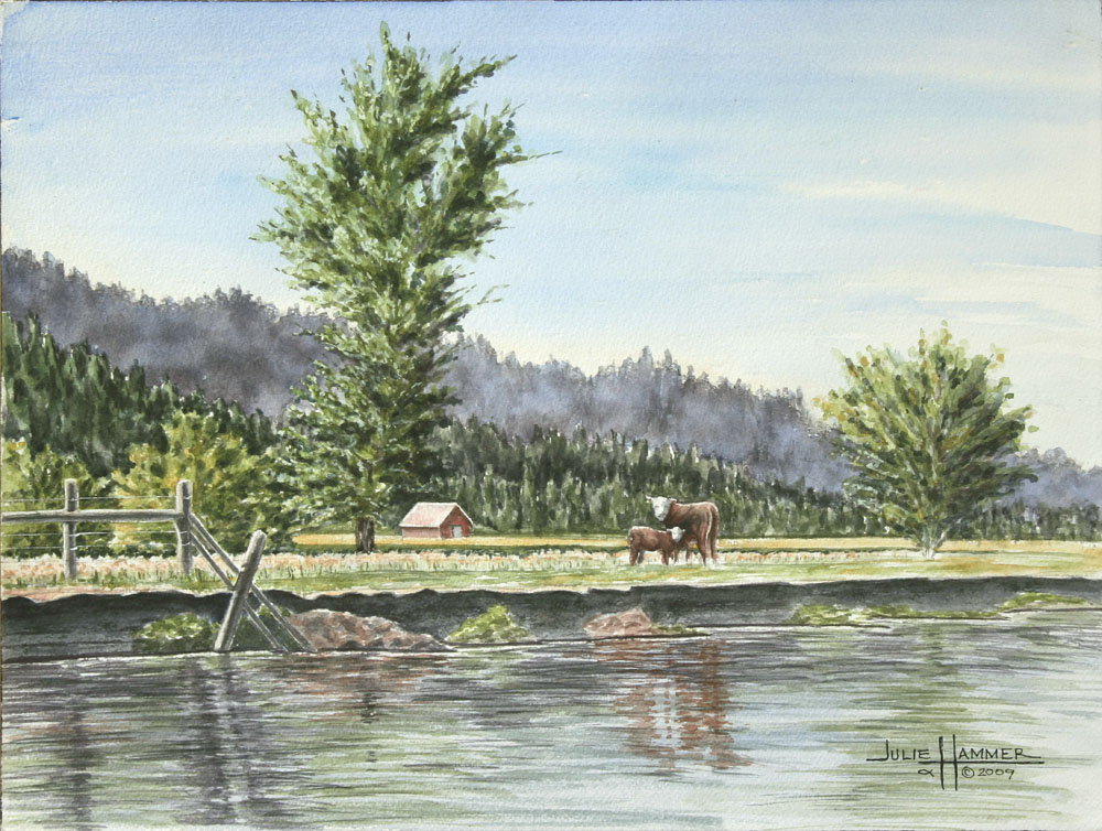 Cows at River Bank watercolor painting by Julie Hammer, artist