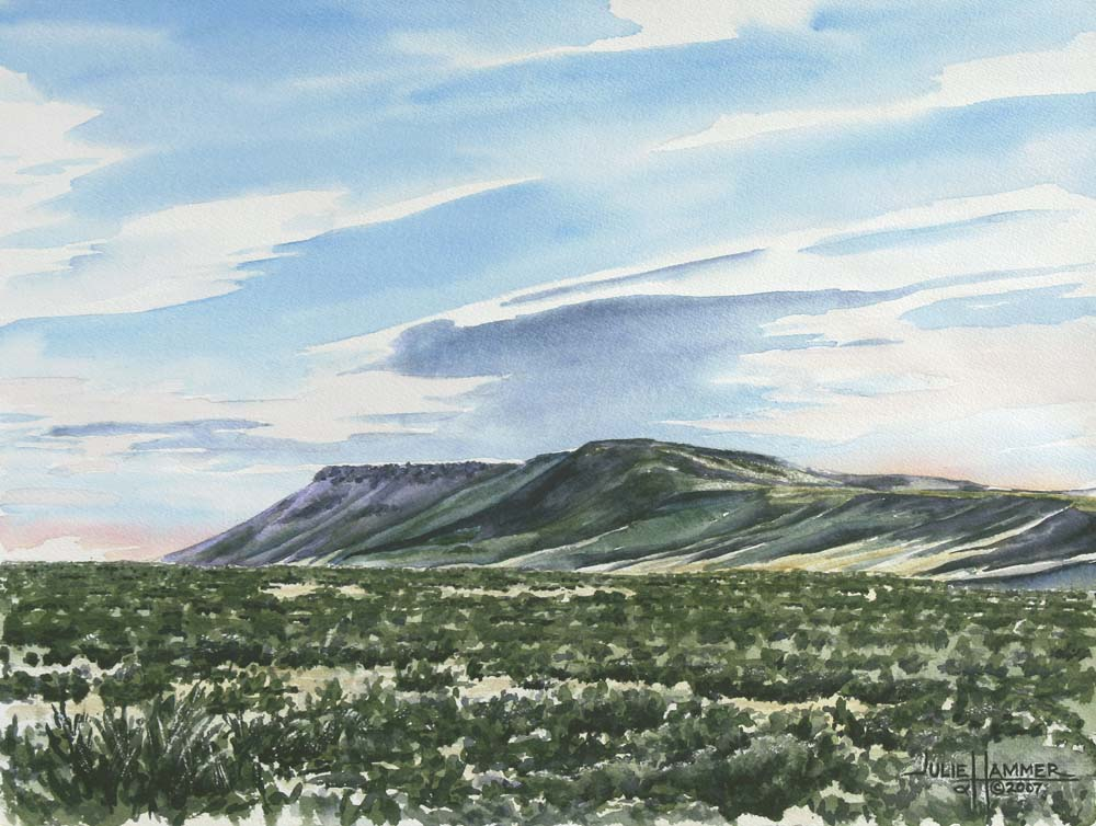 Distant Bluffs watercolor painting by Julie Hammer, artist