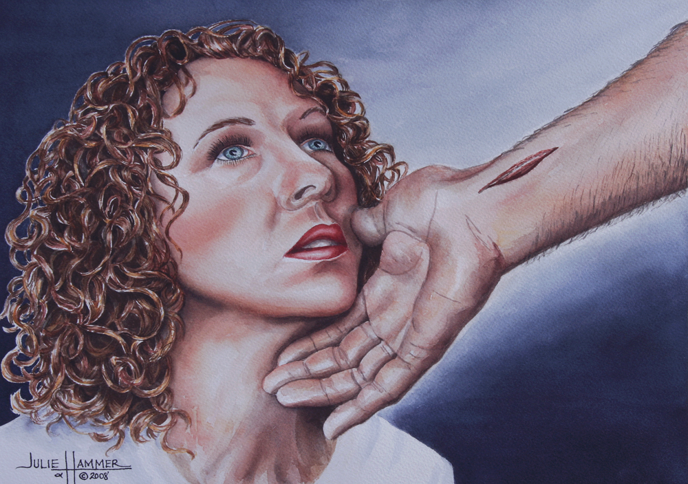 Gazing at My Savior watercolor painting by Julie Hammer, artist