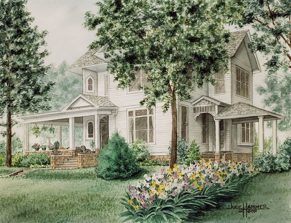 Iris House watercolor painting by Julie Hammer, artist