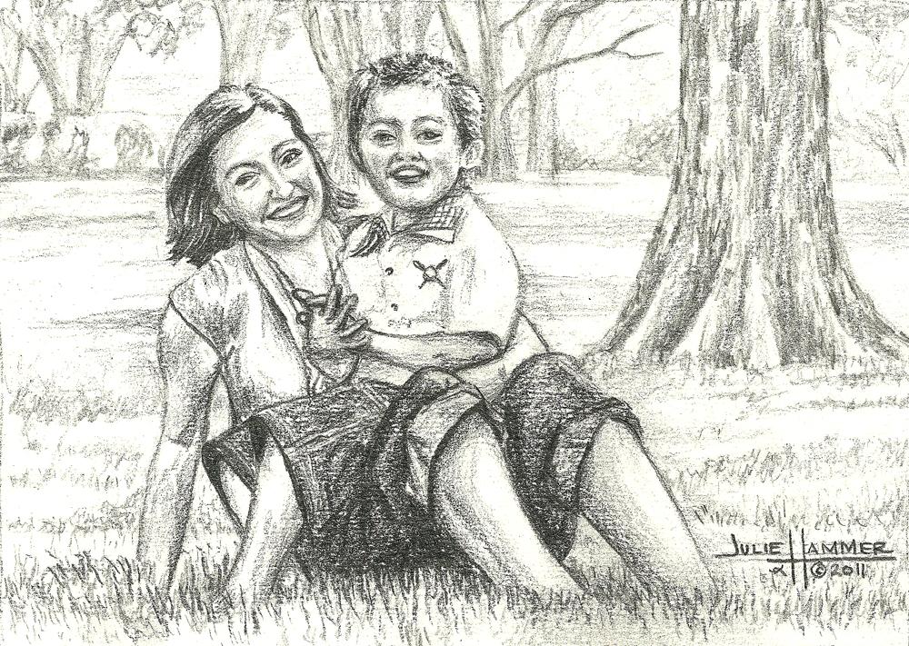 Jody & Erwin pencil drawing by Julie Hammer, artist