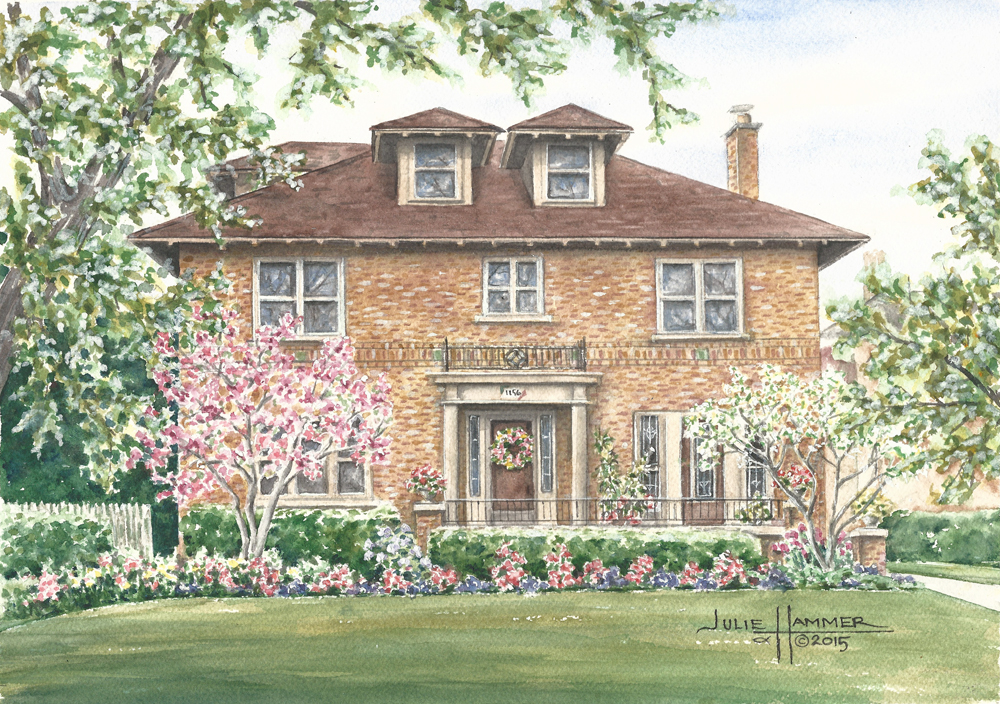 Sharrow Home watercolor painting by Julie Hammer, artist