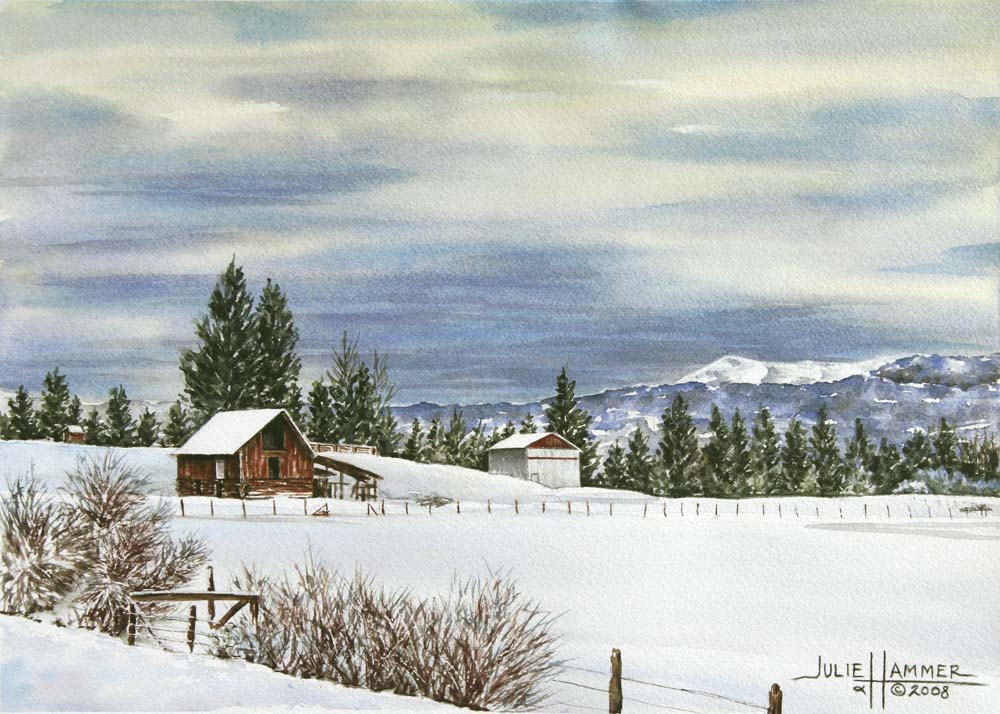 Snow Covered Farm watercolor painting by Julie Hammer, artist