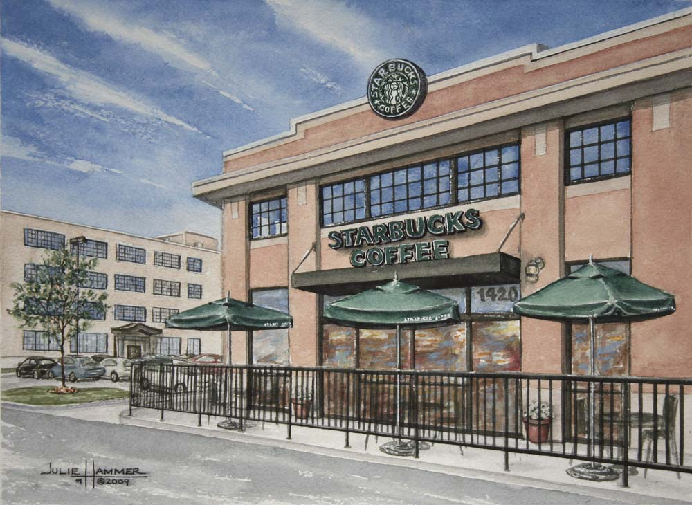Starbucks Watercolor Painting by Julie Hammer, artist