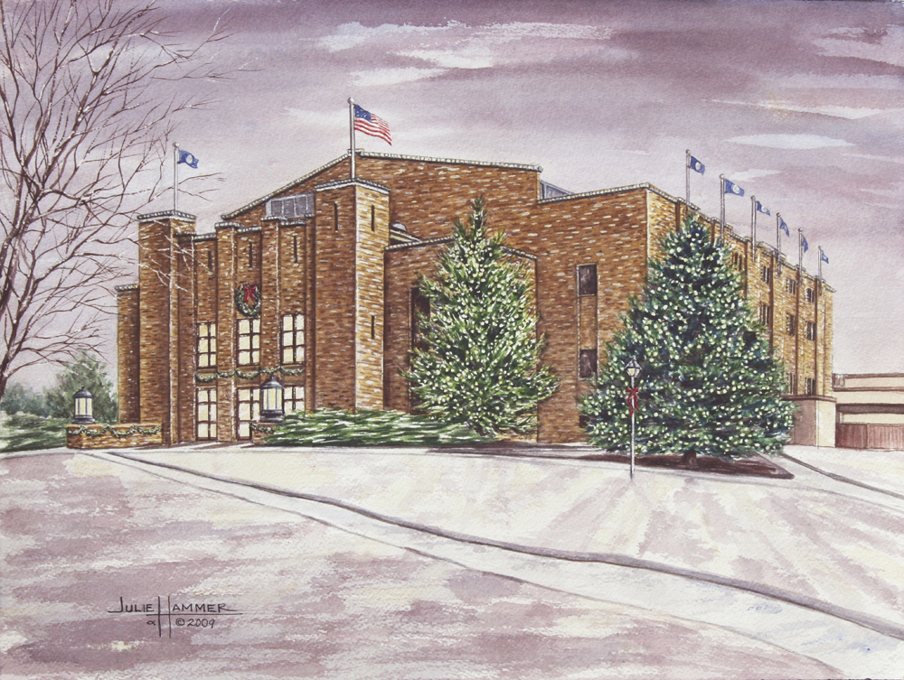 Washburn Whiting Field House watercolor painting by Julie Hammer, artist