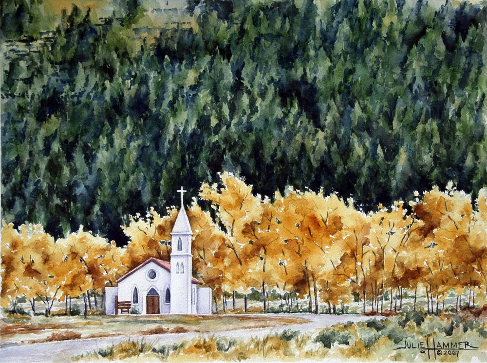 White Church with Aspen watercolor painting by Julie Hammer, artist