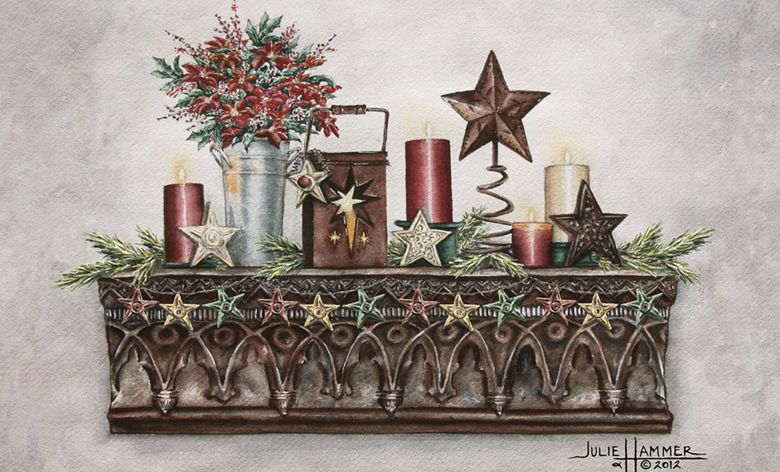 Holiday Stars watercolor painting by Julie Hammer, artist