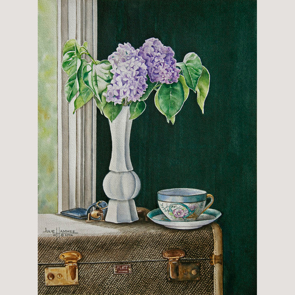 Lilacs with Teacup watercolor painting by Julie Hammer, artist