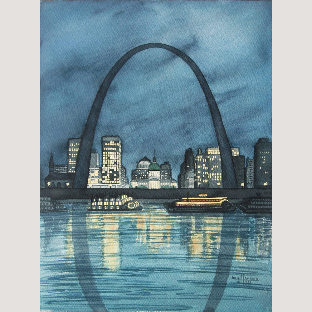 St. Louis Arch watercolor painting by Julie Hammer, artist
